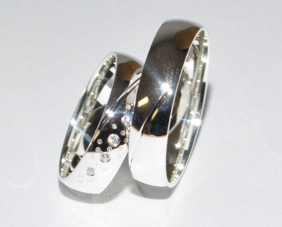 1 Paar Trauringe Hochzeitsringe Silber 925 Mit Zirkonia Breite