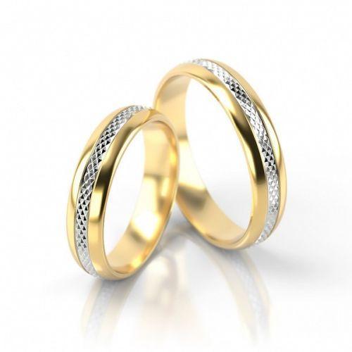 1 Paar Trauringe Hochzeitsringe Gold 585 Bicolor Gelbgold