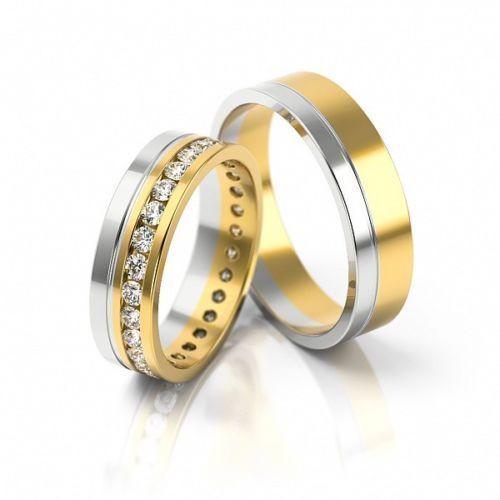 1 Paar Trauringe Hochzeitsringe Gold 333 Bicolor Gelbgold U