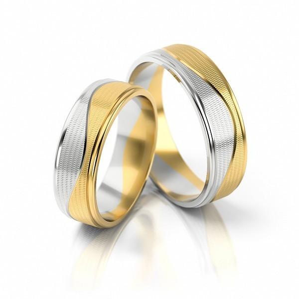 1 Paar Trauringe Hochzeitsringe Gold 333 Bicolor Breite 6mm