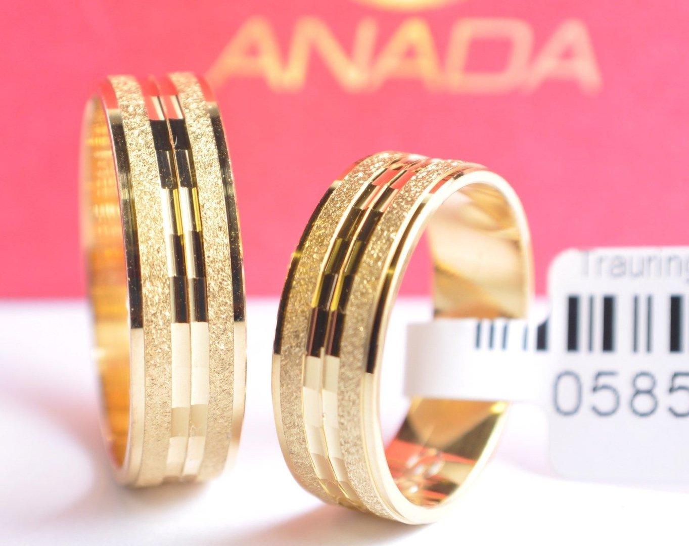 1 Paar Gold 585 Trauringe Eheringe Hochzeitsringe Mit Blitzendem Muster B 6mm