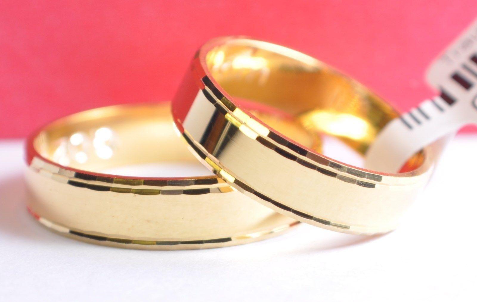 1 Paar Gold 585 Trauringe Eheringe Hochzeitsringe Mit Blitzendem Muster B 5mm