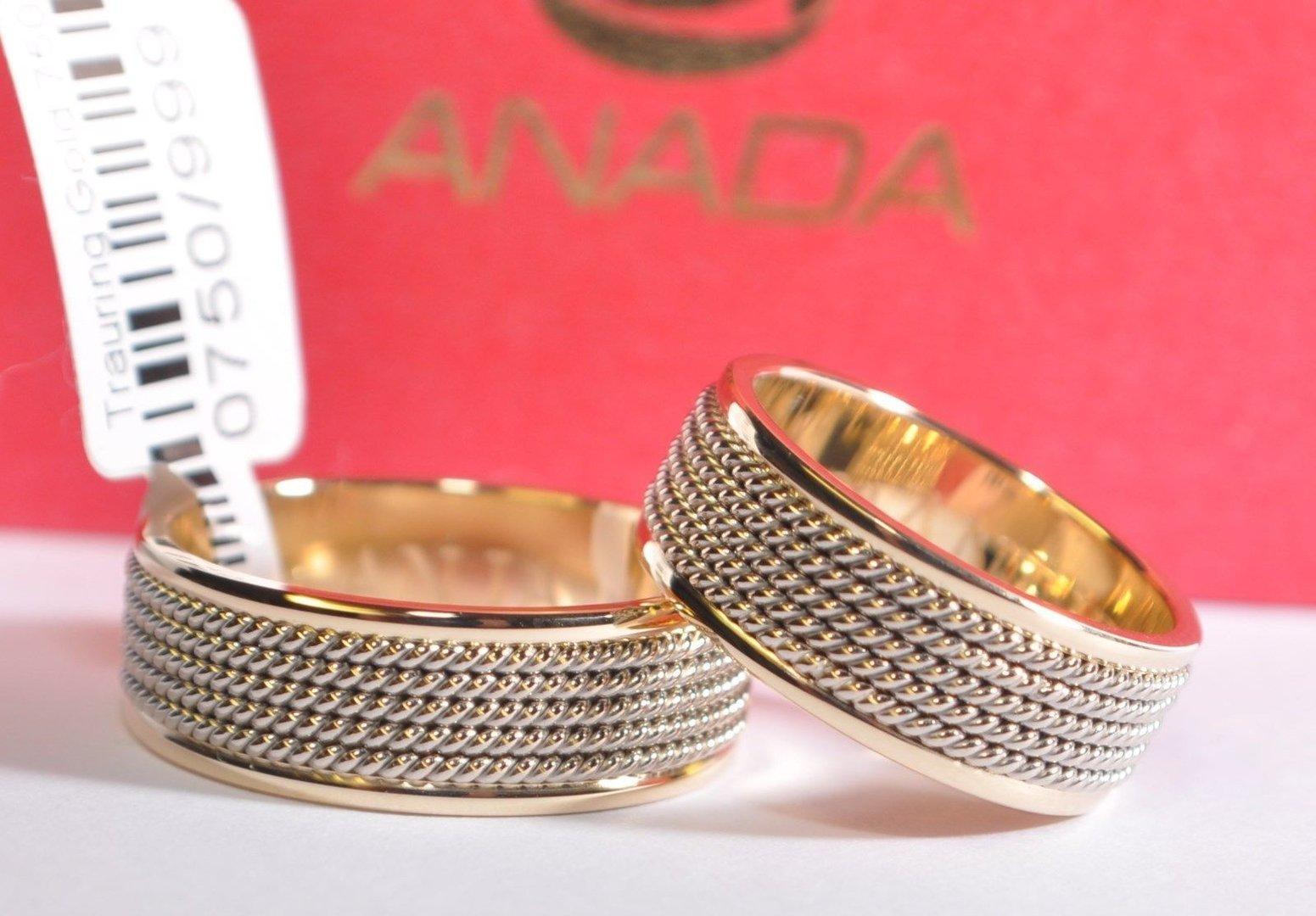 1 Paar Trauringe Hochzeitsringe Gold 750 Bicolor Breite 7mm