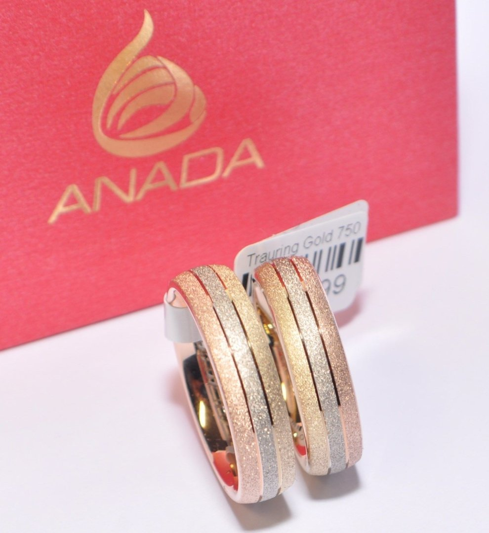 1 Paar Trauringe Eheringe Hochzeitsringe Gold 750 Tricolor