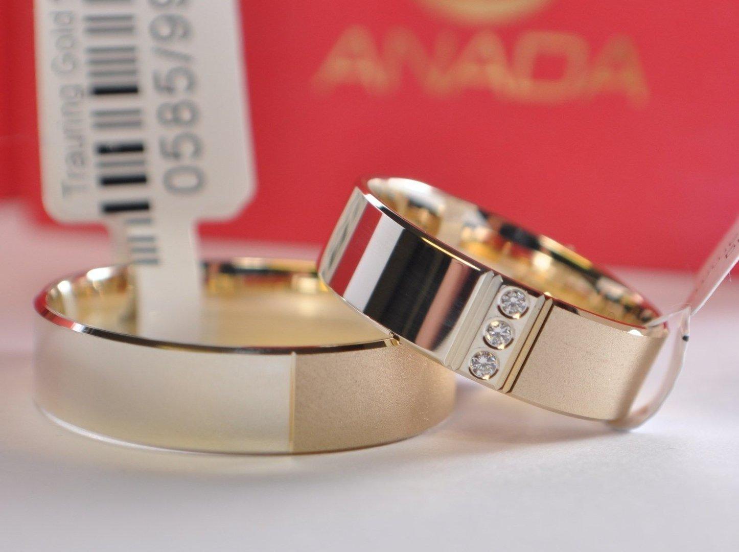 1 Paar Trauringe Hochzeitsringe Gold 585 Bicolor Mit 3 Diamanten 002ct B 60mm Top