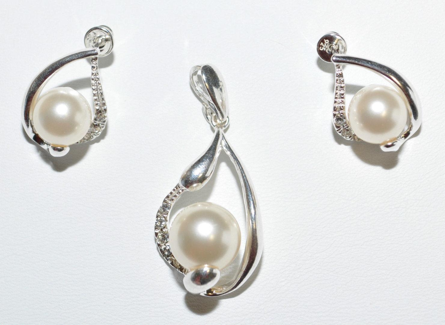 Silberschmuck günstig  Silber 925 Silberschmuck Set mit Perlen und Zirkonia - Günstig ...