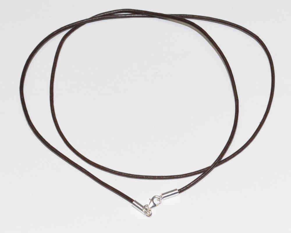 Echtleder Halskette Ø 2,0 mm Braun - Verschluß 925 Silber Leder ...