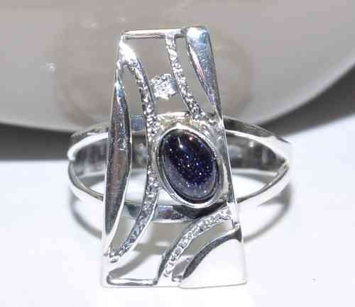 925 Silber - Ring mit Blaufluss - Unikat - Exclusive - Handmade - Trends Design