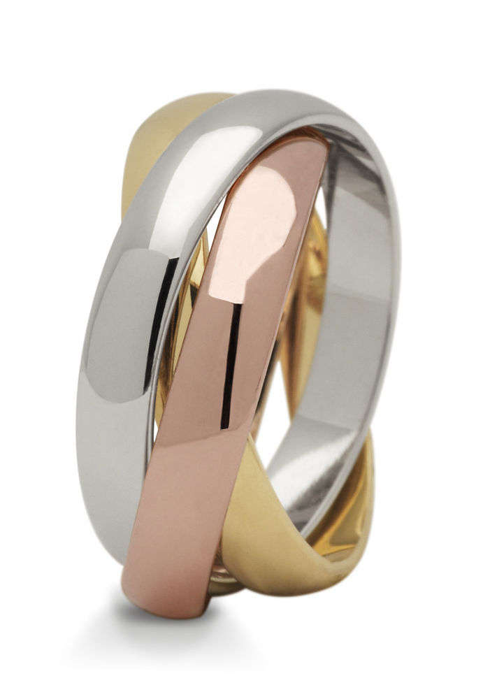 1 Paar Trauringe Hochzeitsringe Gold 585 Tricolor 3 Ringe In 1