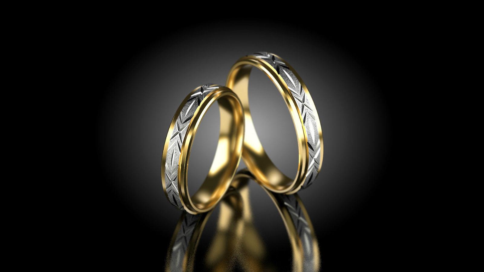 1 Paar Trauringe Gold 585 mit Zirkonia 4mm Weißgold B Bicolor Gelbgold
