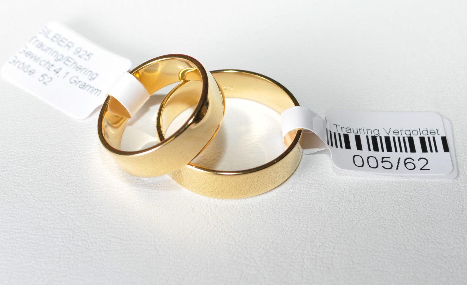 TOP Breite 5mm 1 Paar Trauringe Top Qualität Silber 925 vergoldet 5µ