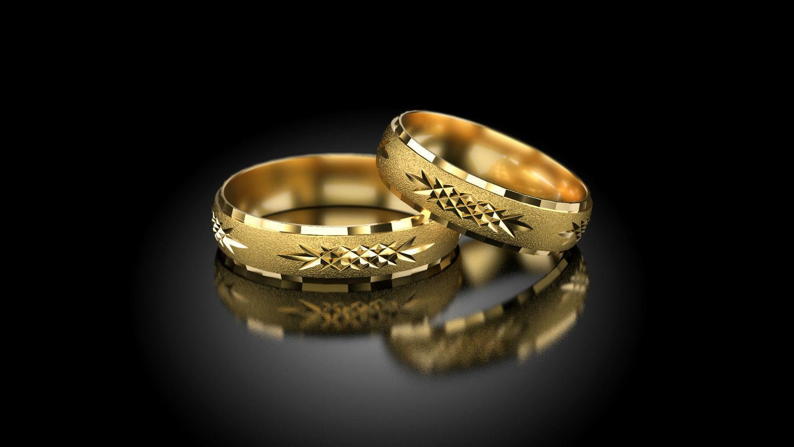 1 Paar Gold 333 Trauringe Eheringe Hochzeitsringe Mit Blitzendem