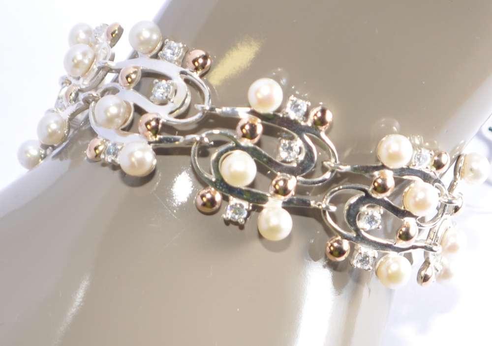 925 Silber und Gold 585 Armband mit Perlen und Zirkonia