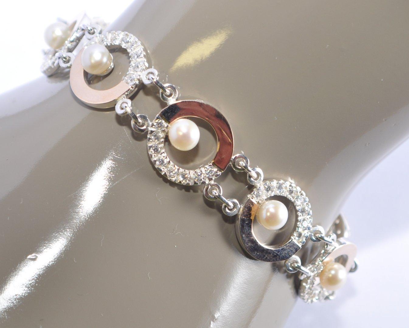 925 Silber und Gold 585 Armband mit Perlen und Swarovski Steine