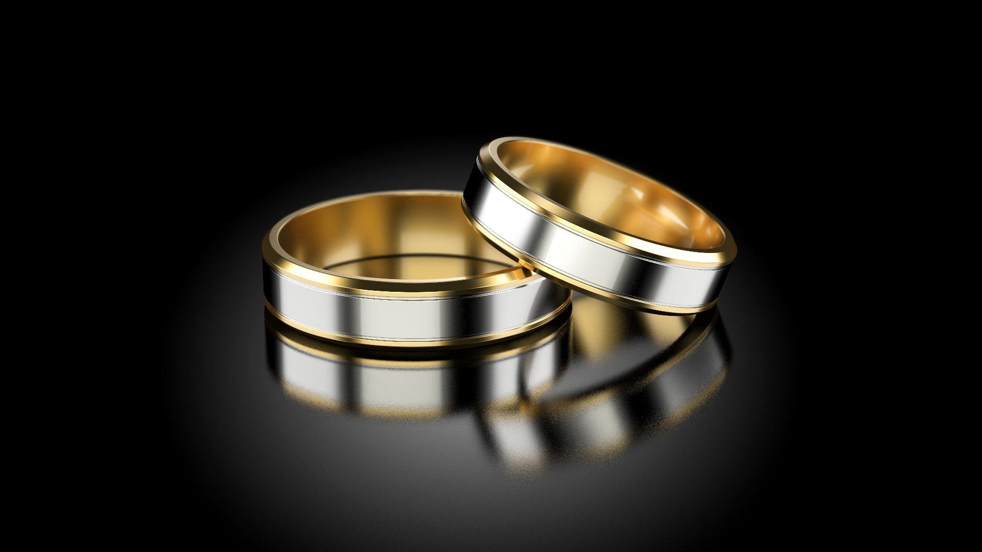 1 Paar Trauringe Eheringe Hochzeitsringe Gold 585 Breite 5mm Bicolor