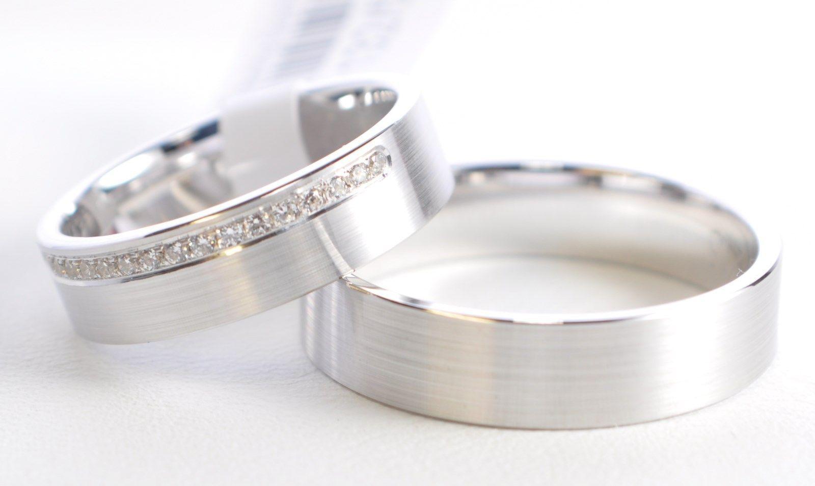 1 Paar Trauringe Hochzeitsringe Weissgold 585 Breite 5 3mm Anada